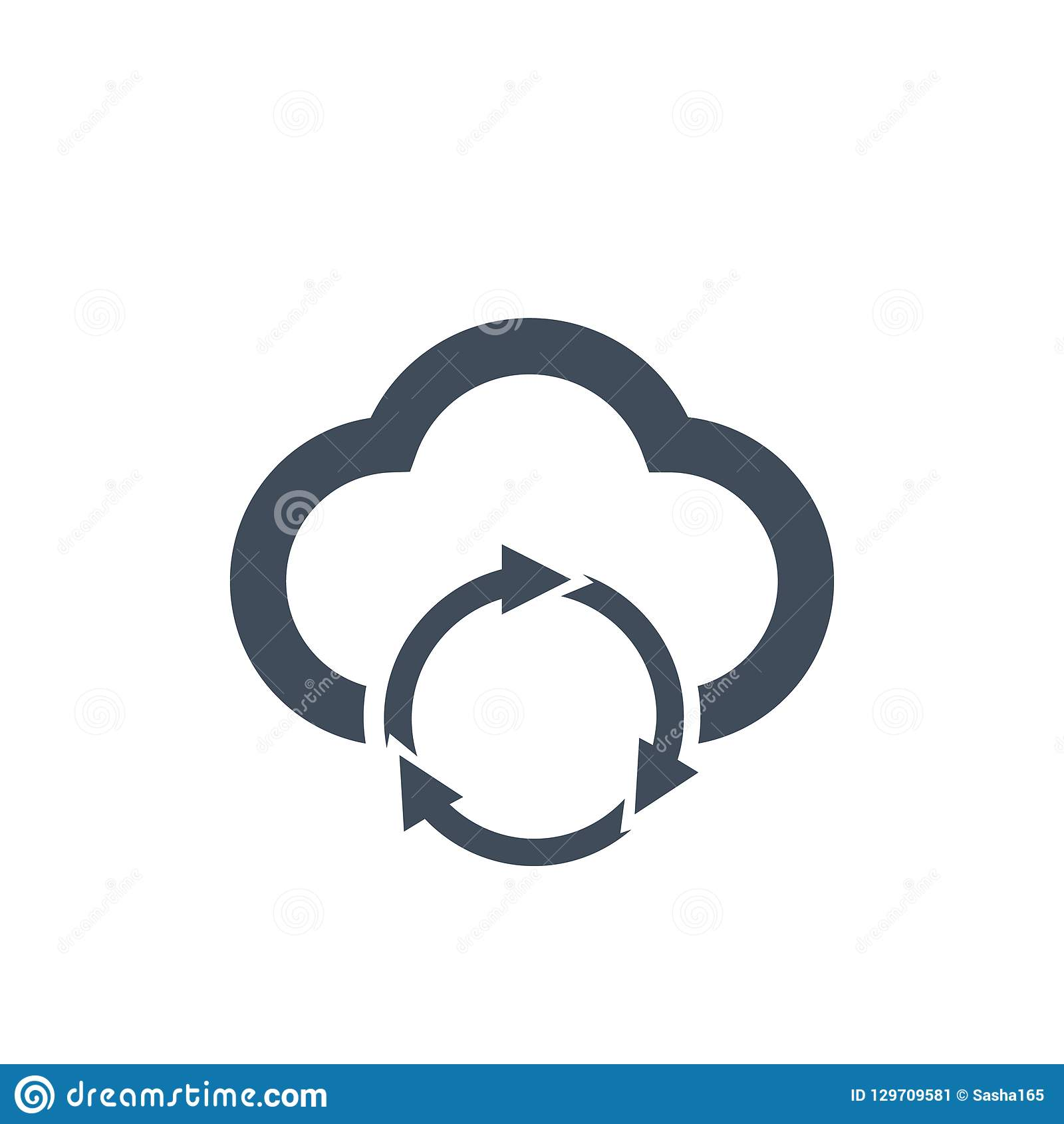 Cloud data sync refresh icon for apps and websites, vector illustration.