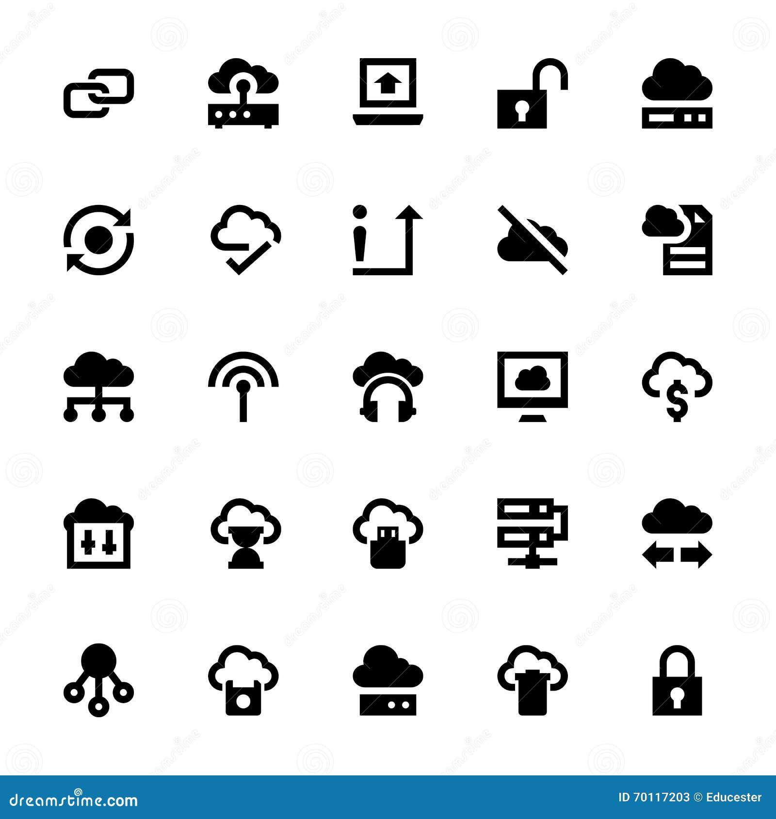 cloud data technology vector icons 3 stock illustration