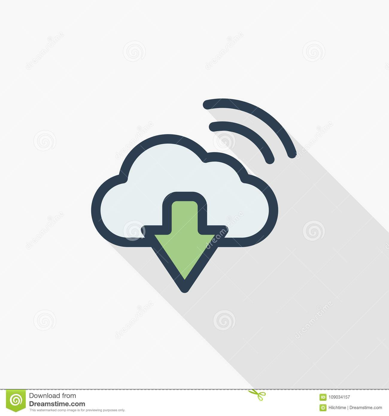 Cloud Download Computer Technology Thin Line Flat Color Icon