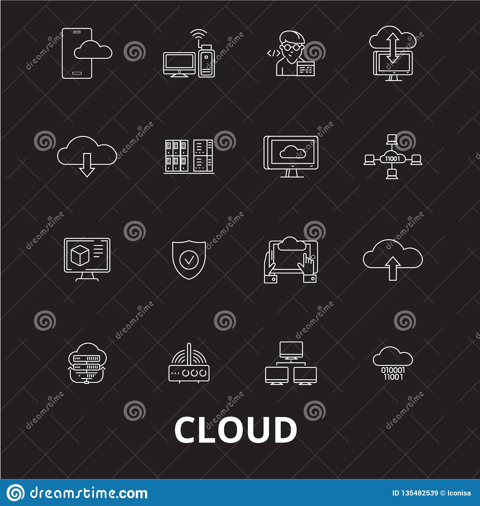 Cloud editable line icons vector set on black background. Cloud white outline illustrations, signs, symbols