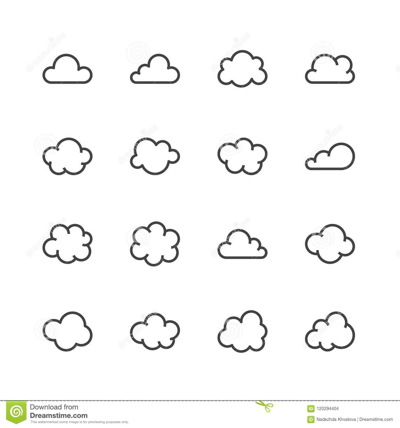 Cloud Flat Line Icons  Clouds Symbols For Data Storage