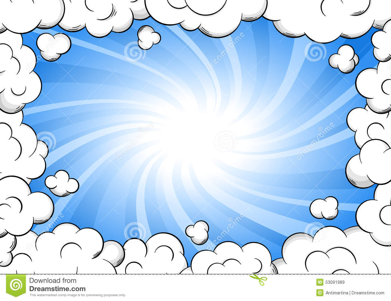 Cloud Frame With Sky As Background Stock Vector - Illustration of ...