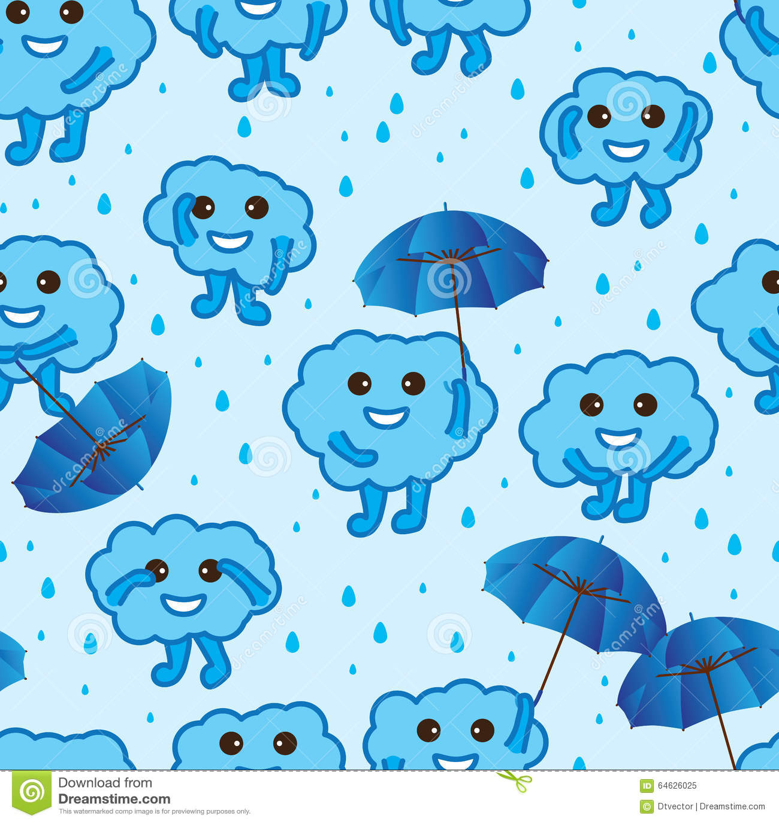 Cloud Happy Cute Blue Seamless Pattern