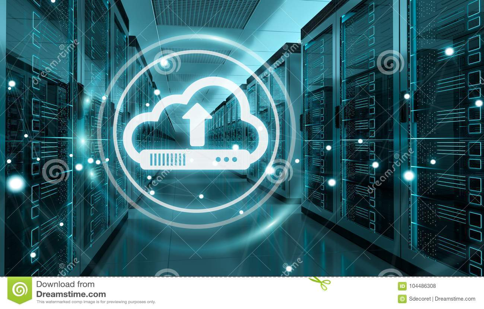 Cloud icon downloading datas in server room center 3D rendering
