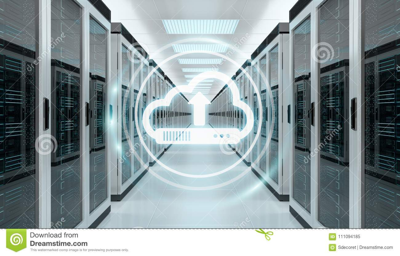 Cloud icon downloading datas in server room center 3D rendering