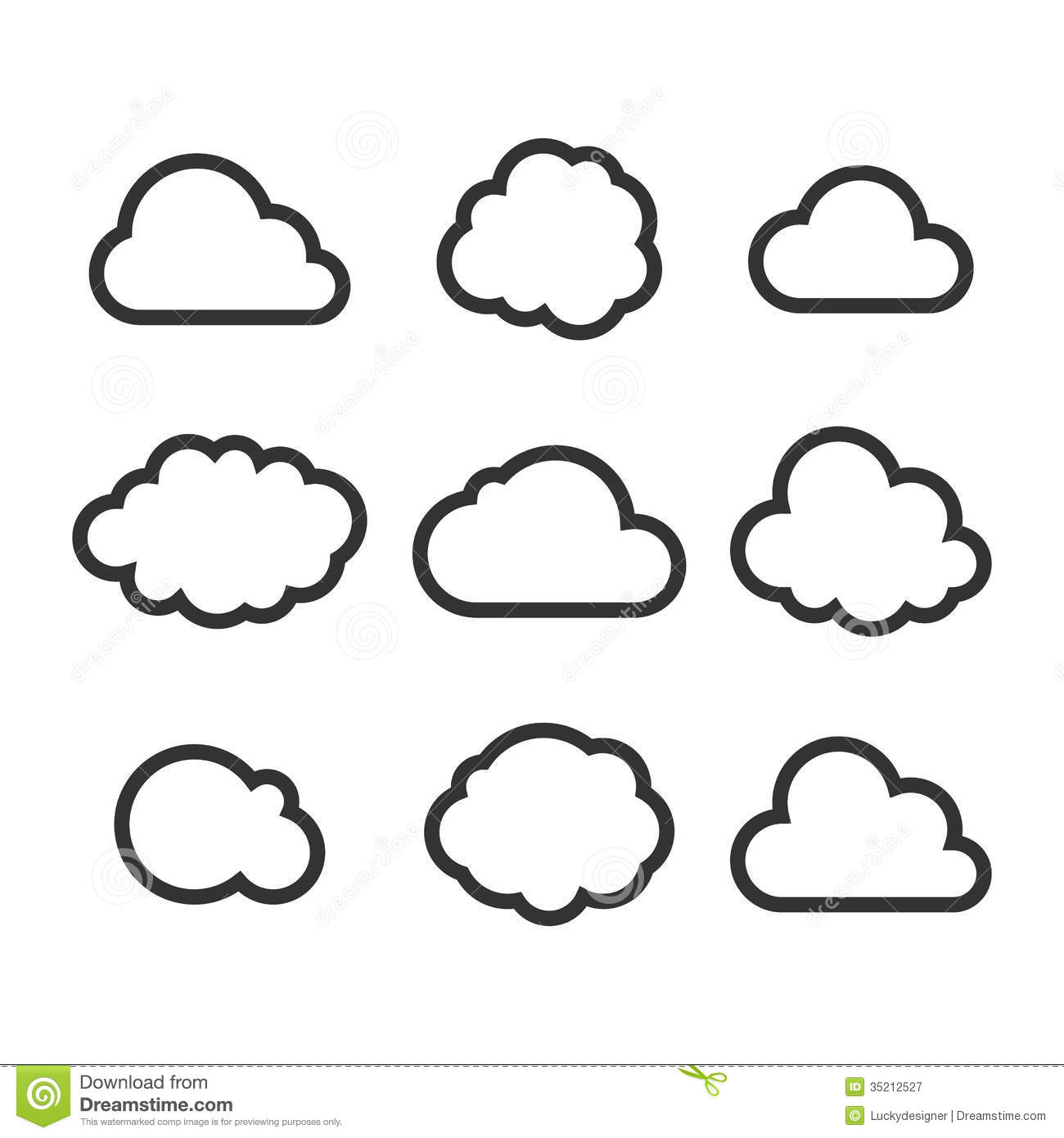 Royalty Free Stock Photography: Cloud Icon Set. Image: 35212527