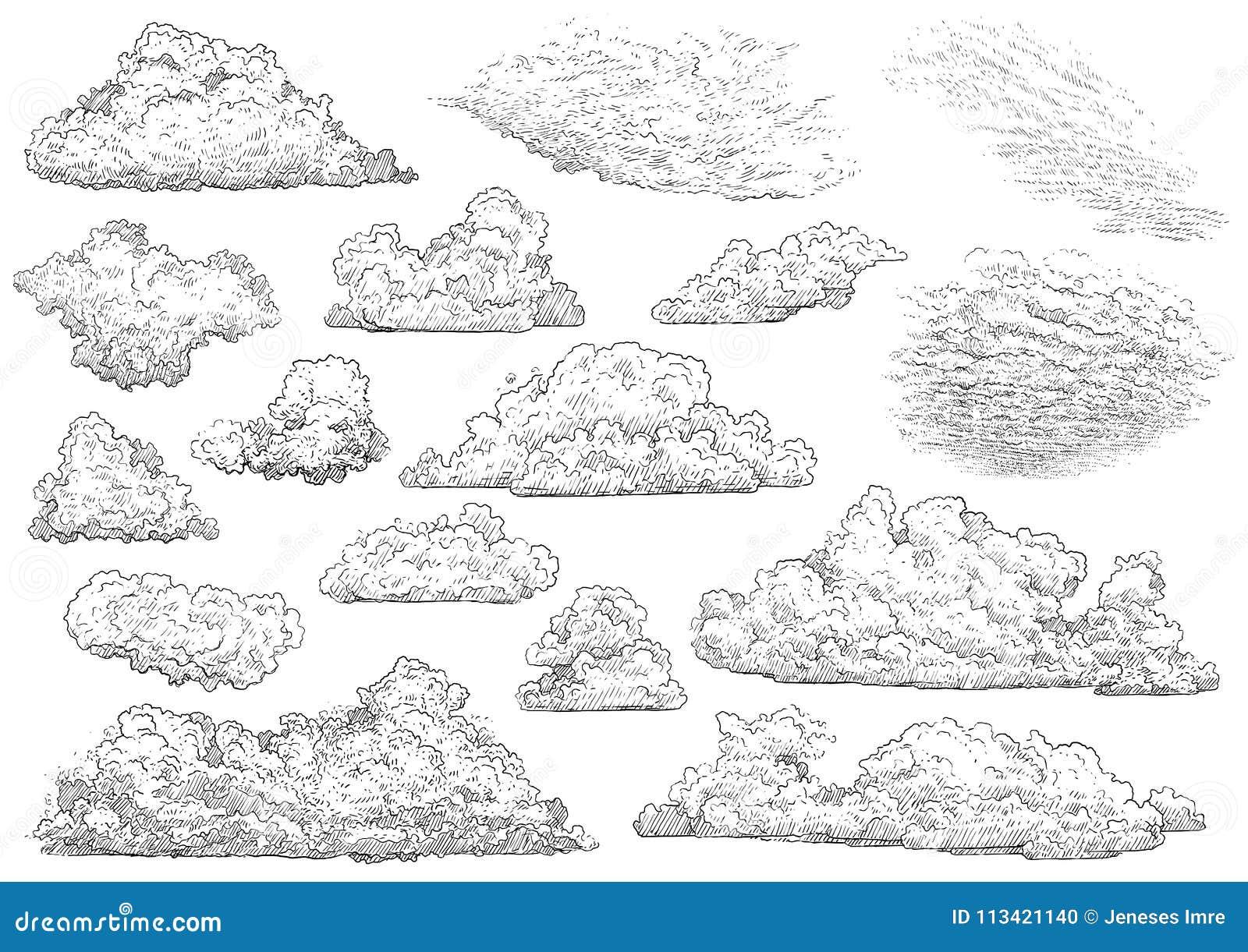 Cloud illustration drawing engraving ink line art vector stock