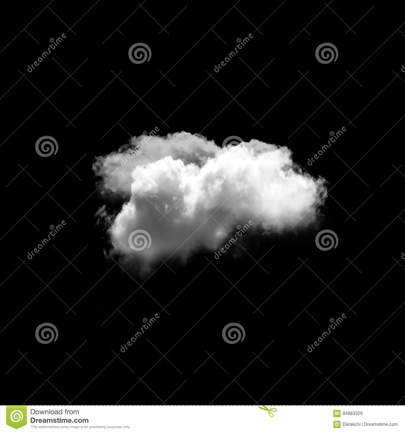 Cloud isolated over black background