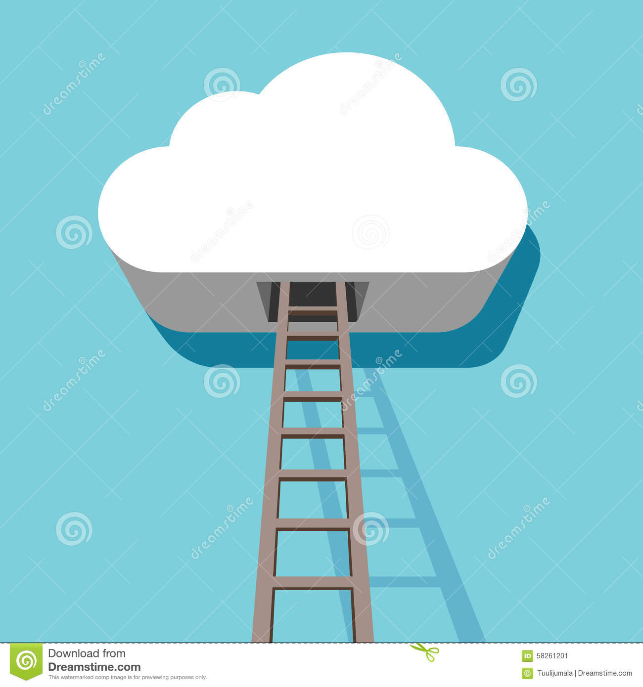 Cloud with ladder 3d flat design stock vector image for 3d flat design online