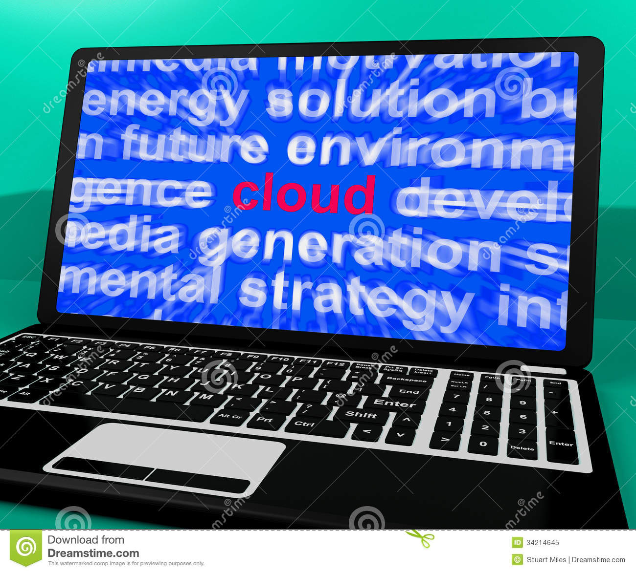 cloud on laptop shows networking resources royalty stock cloud on laptop shows networking resources