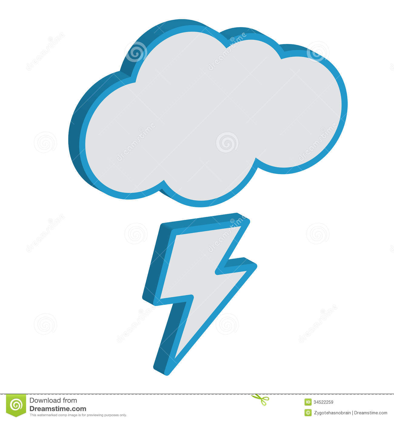 Cloud With Lightning Weather Forecast. Stock Vector   Illustration