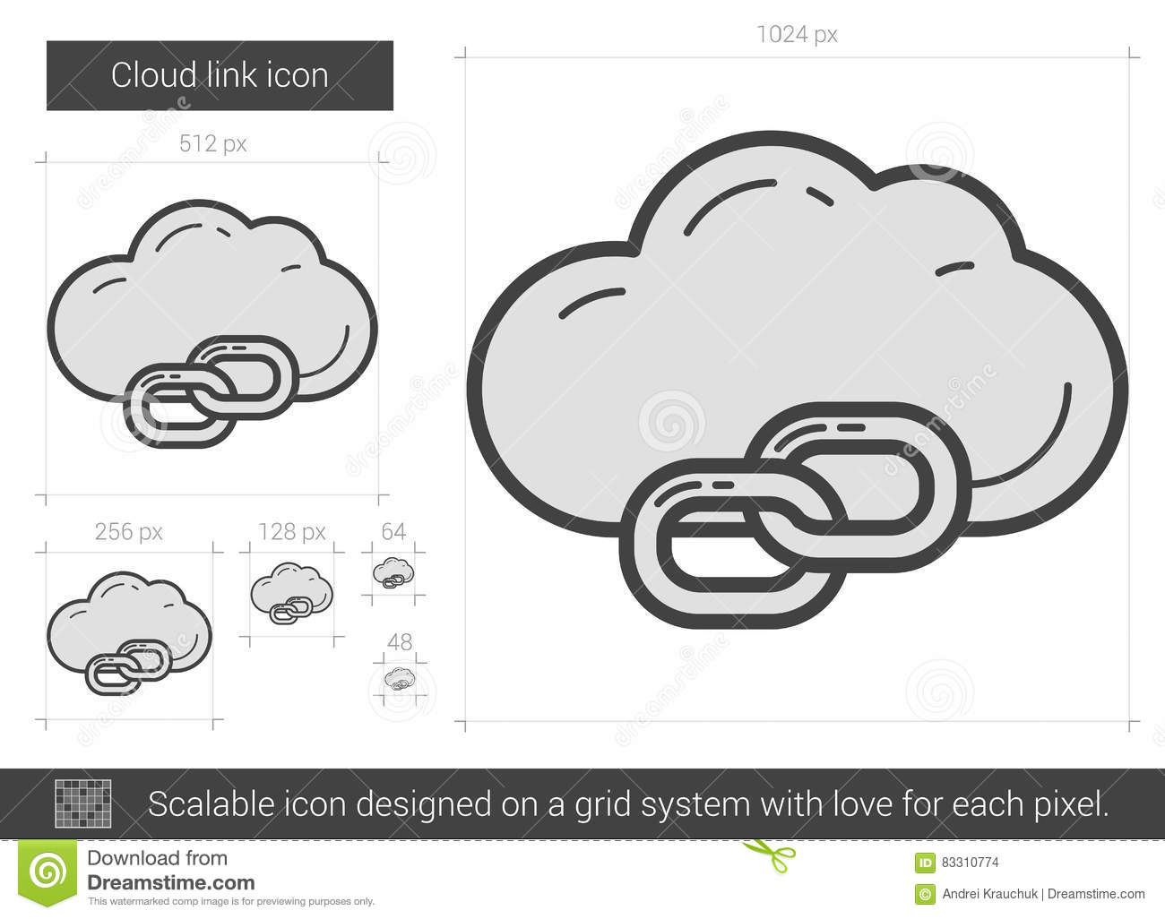 Cloud link line icon  stock vector  Illustration of