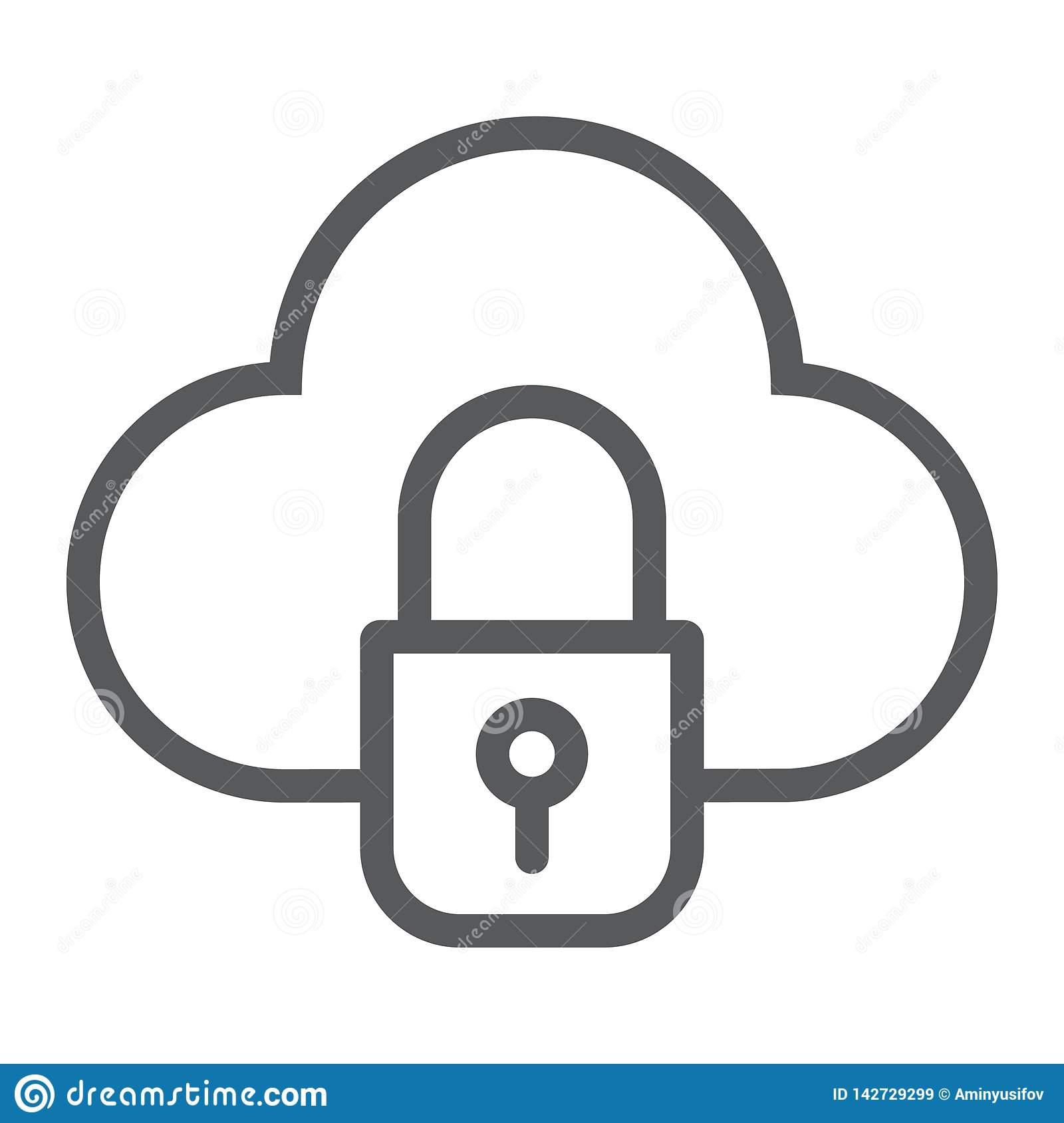 Cloud and lock line icon, data and protect, cloud security sign, vector graphics, a linear pattern on a white background