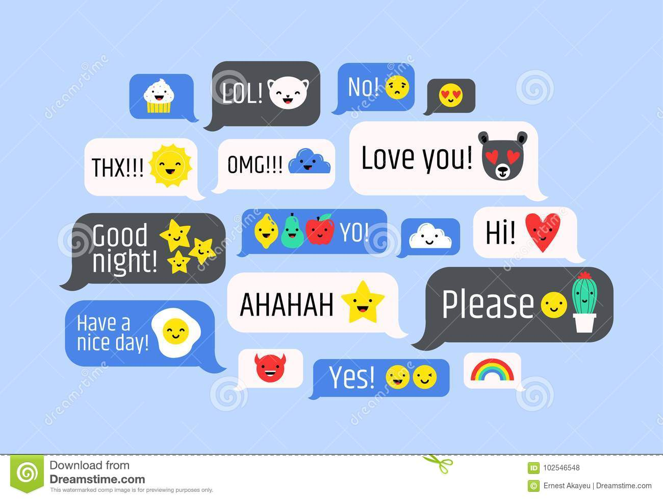 Cloud Of Messages With Cute Emoji Speech Bubbles With Text And