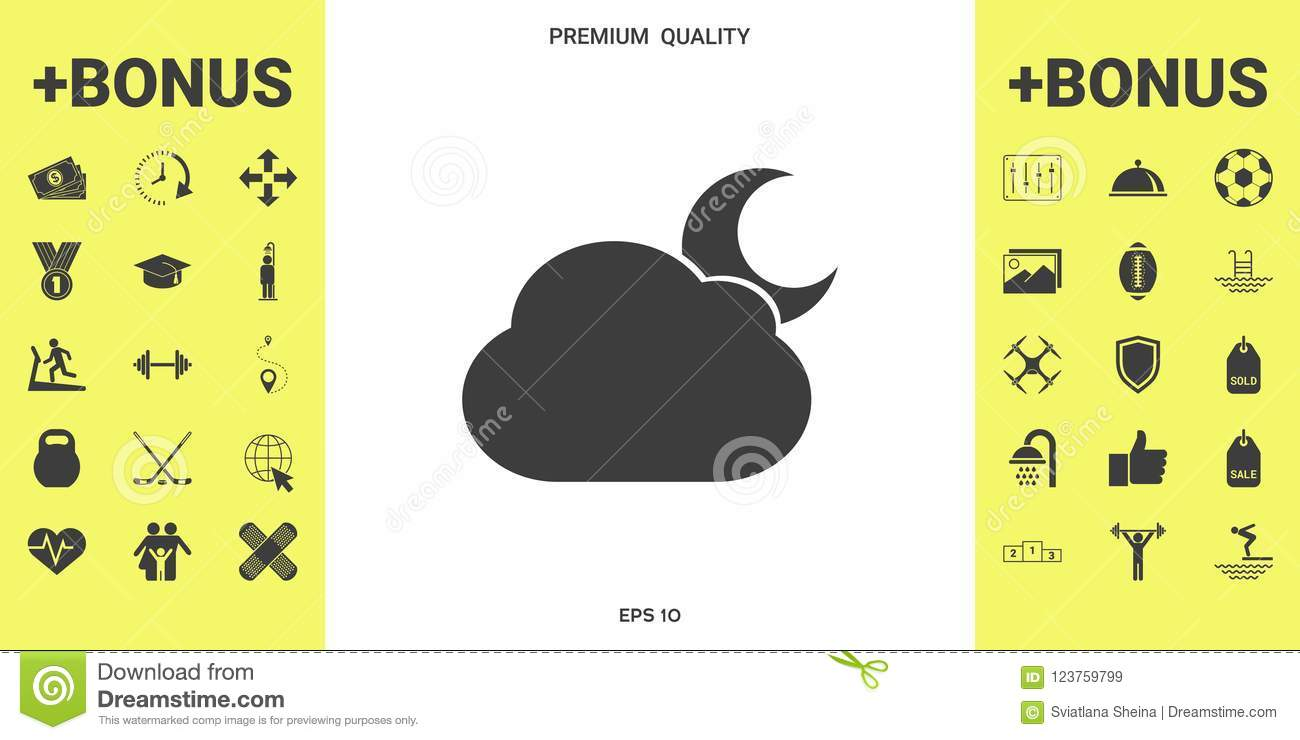 Cloud Moon Symbol Icon Stock Vector Illustration Of Season 123759799