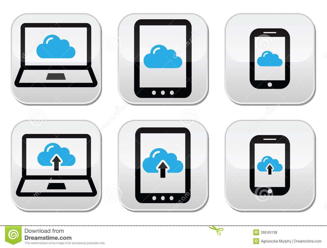 Cloud network on laptop, tablet, smartphone icons