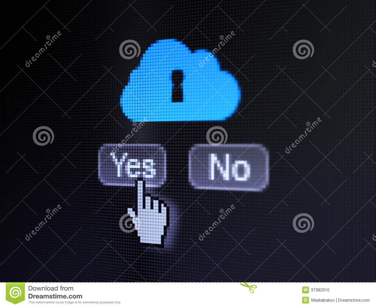 Cloud networking concept buttons yes and no with pixelated cloud with