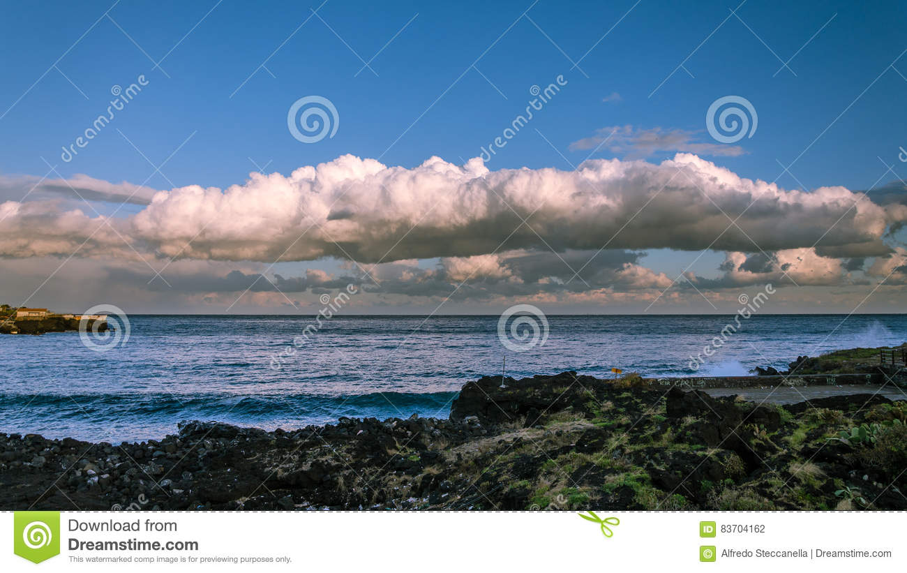 Cloud And Sea In Winter Stock Photo