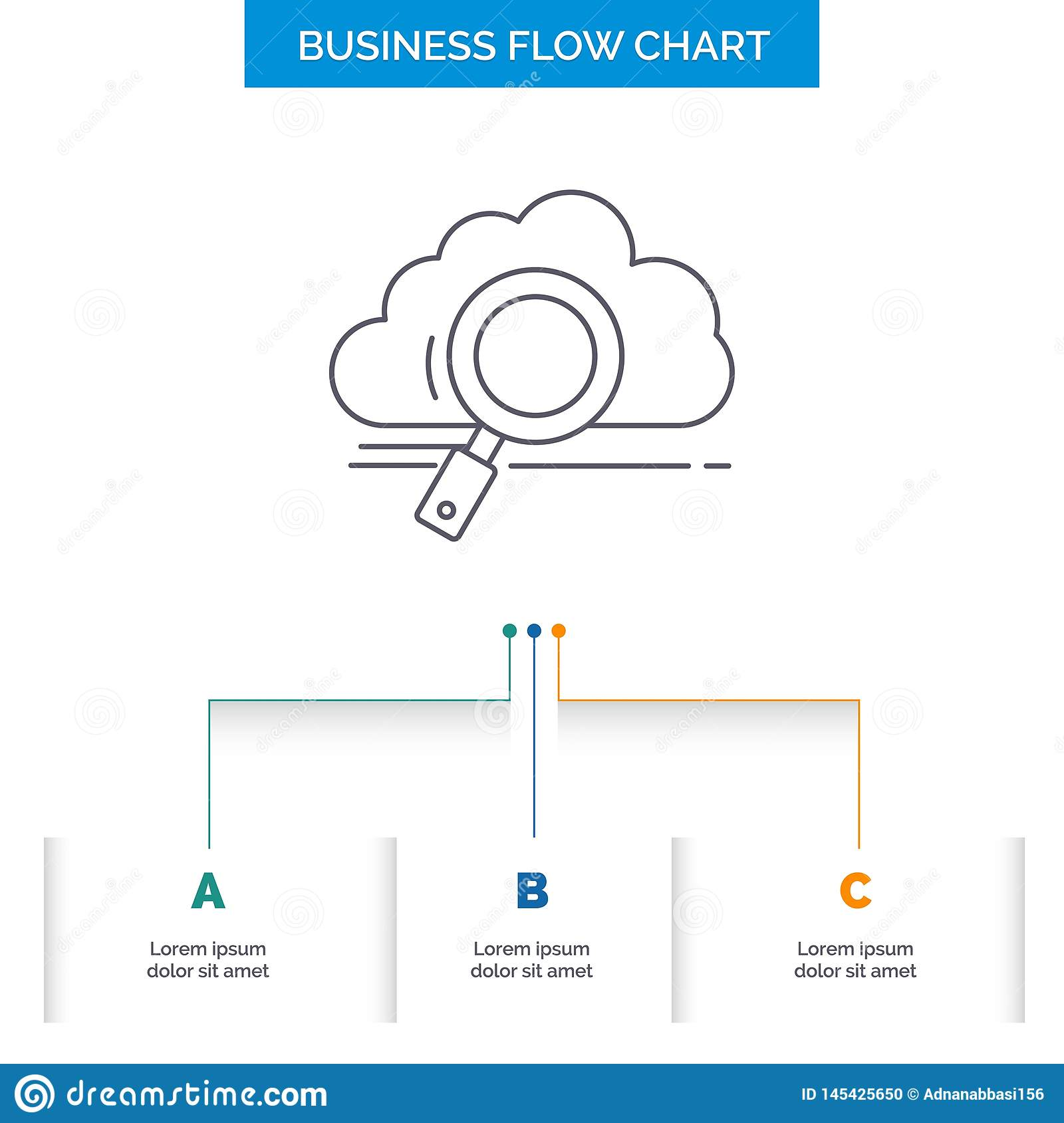 cloud, search, storage, technology, computing Business Flow Chart Design with 3 Steps. Line Icon For Presentation Background