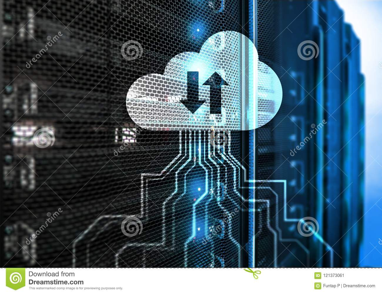 CLoud server and computing, data storage and processing. Internet and technology concept