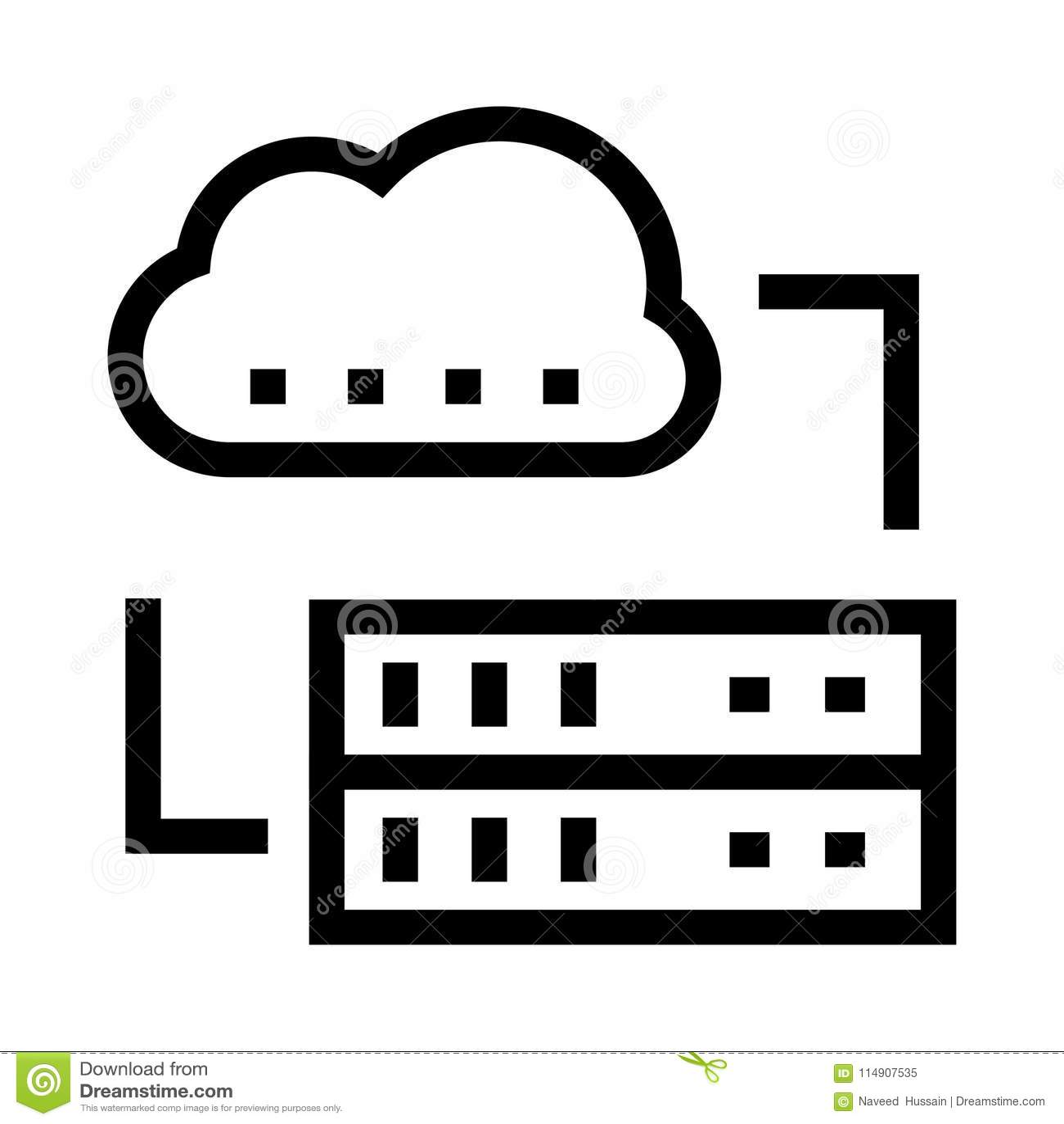 Cloud Server Vector Glyphs Icon Stock Vector - Illustration