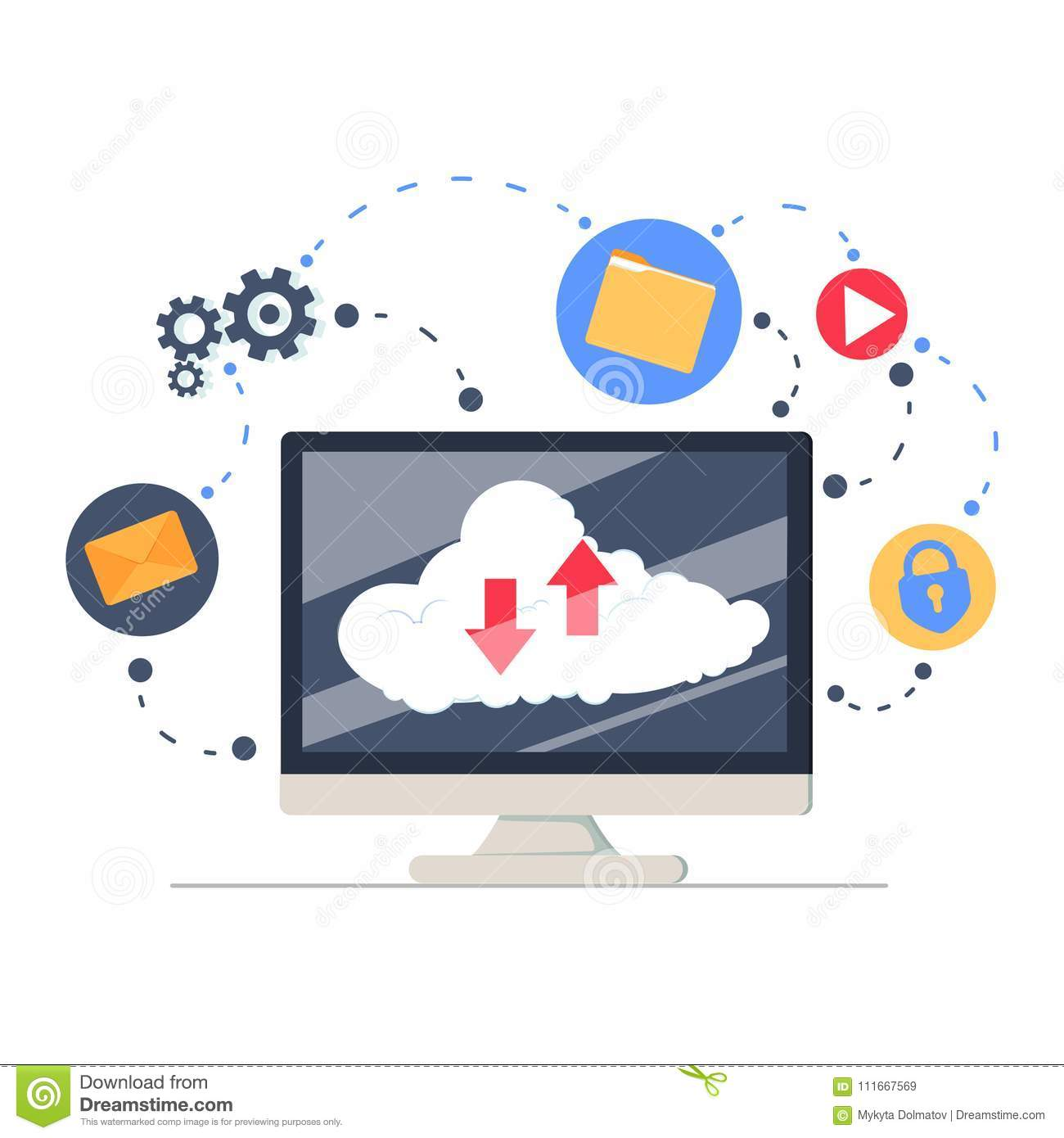 Cloud Services And Technology, Storage Solution, Data Exchange, Online  Network Concept. Flat Illustration. Network Data Storage Online Database  With Files, ...