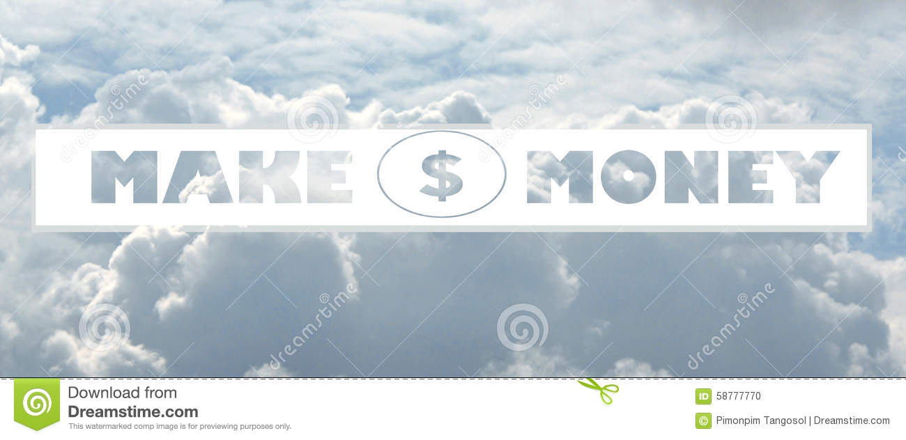 Cloud shaped as make money Message
