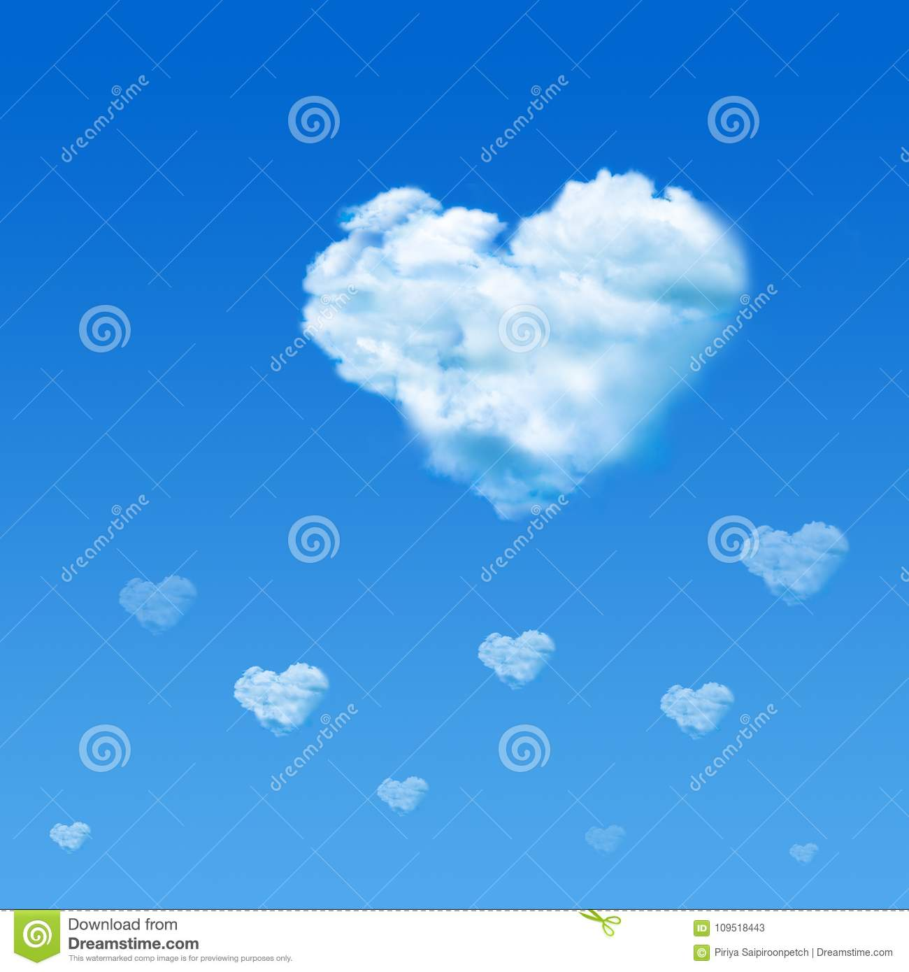 Cloud shaped heart in blue sky. Valentine`s Day concept