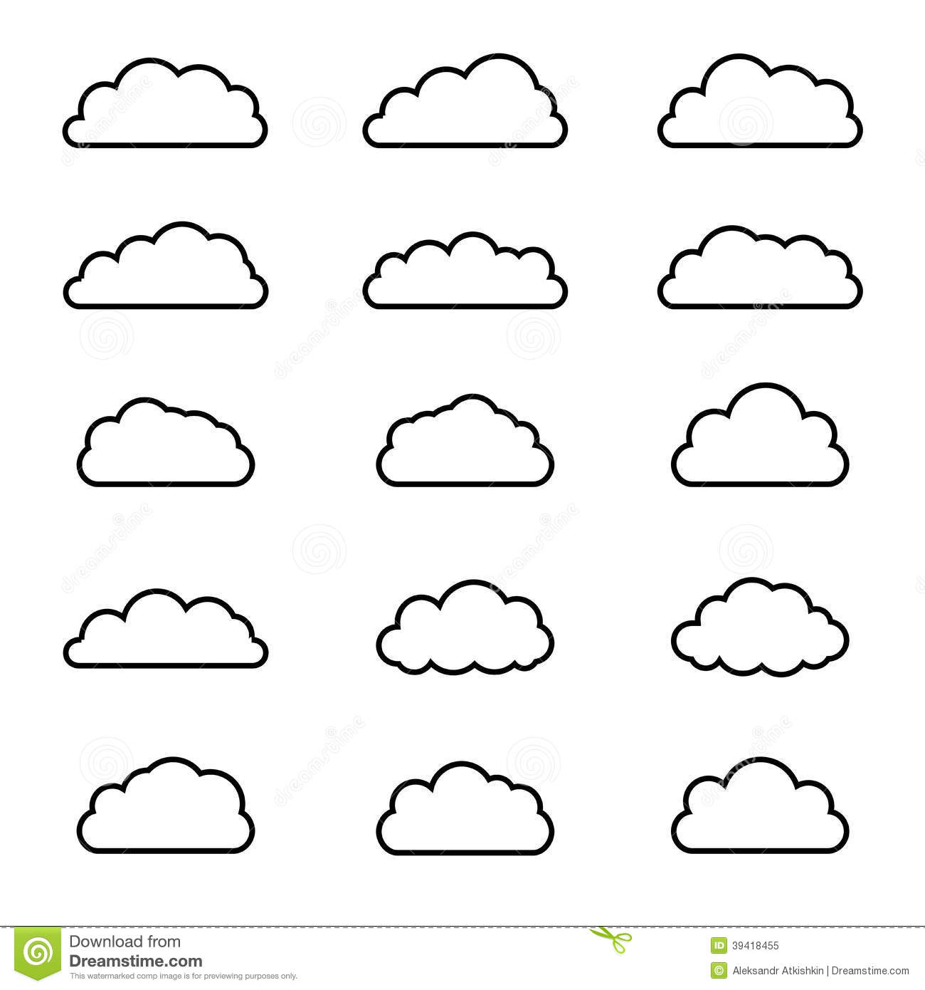 Cloud shapes. Differents icons. Vector illustration.