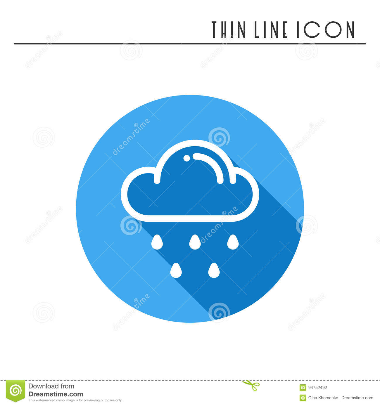 Cloud Sky Rain Line Simple Icon Weather Symbols Meteorology