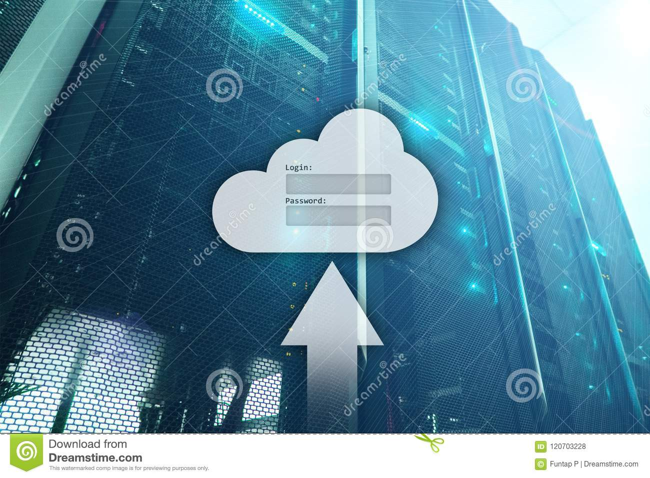 Cloud storage, data access, login and password request window on server room background. Internet and technology concept