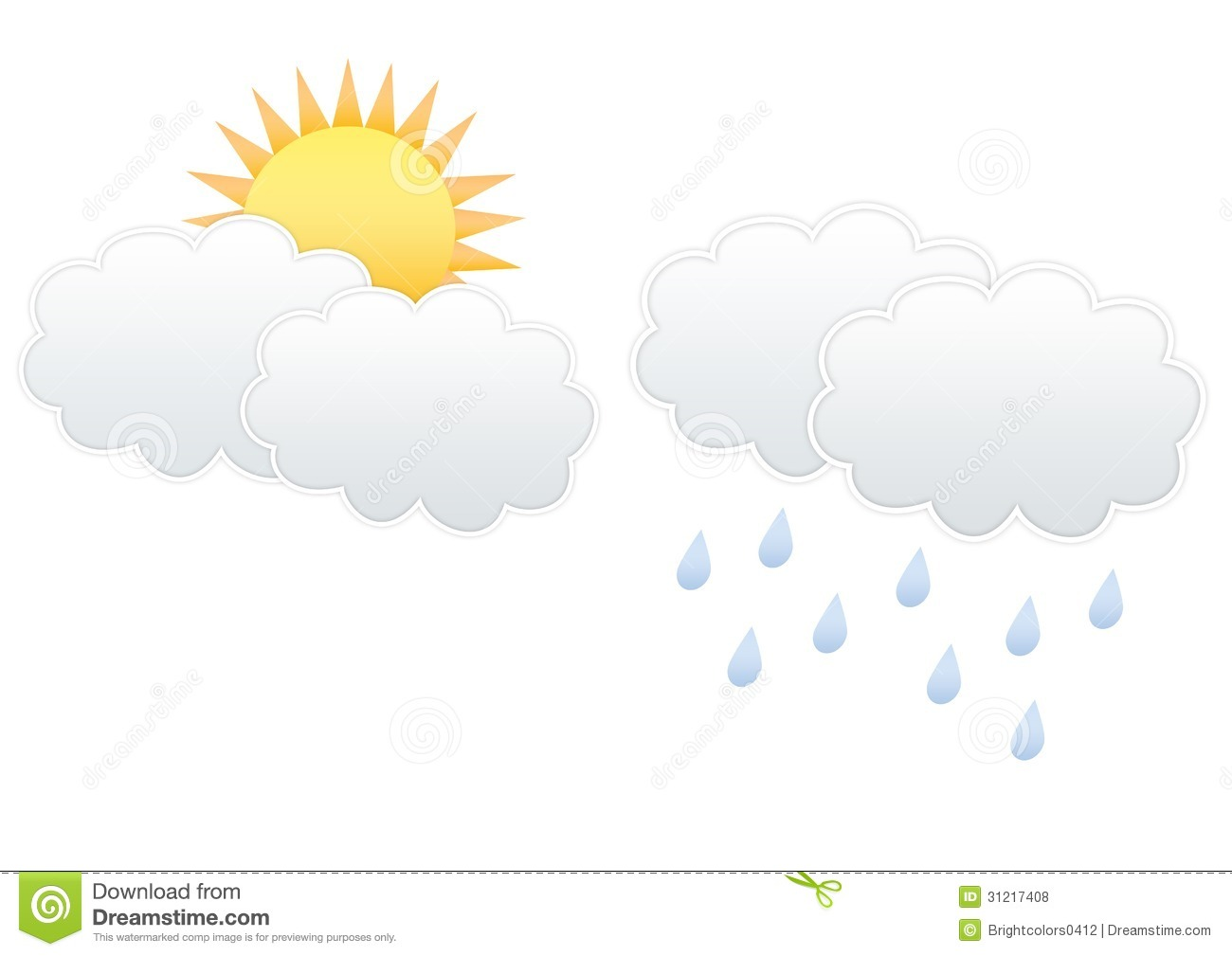 cloud and sun cloud and raindrops royalty free stock