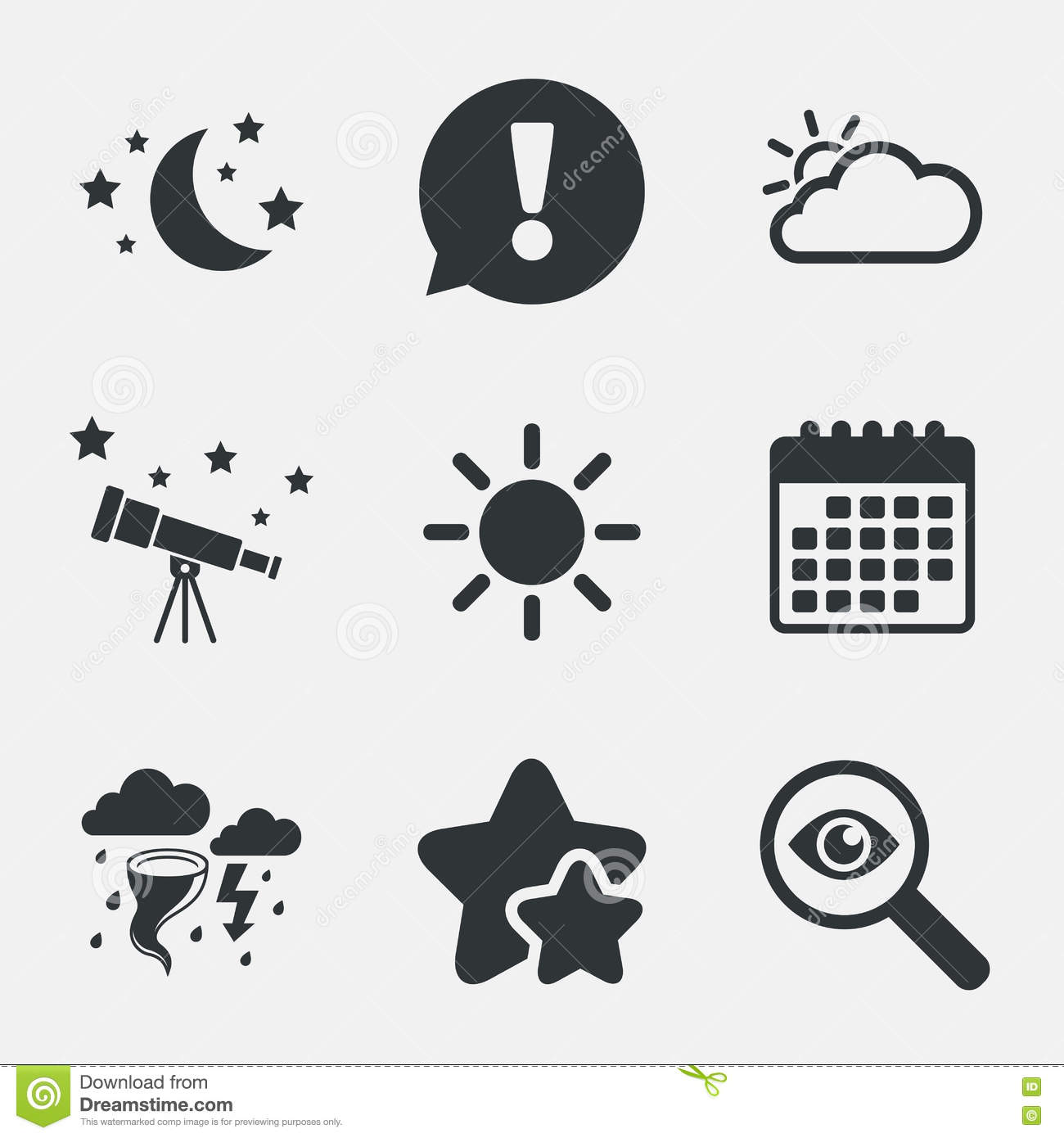 Cloud And Sun Icon Storm Symbol Moon And Stars Stock Vector