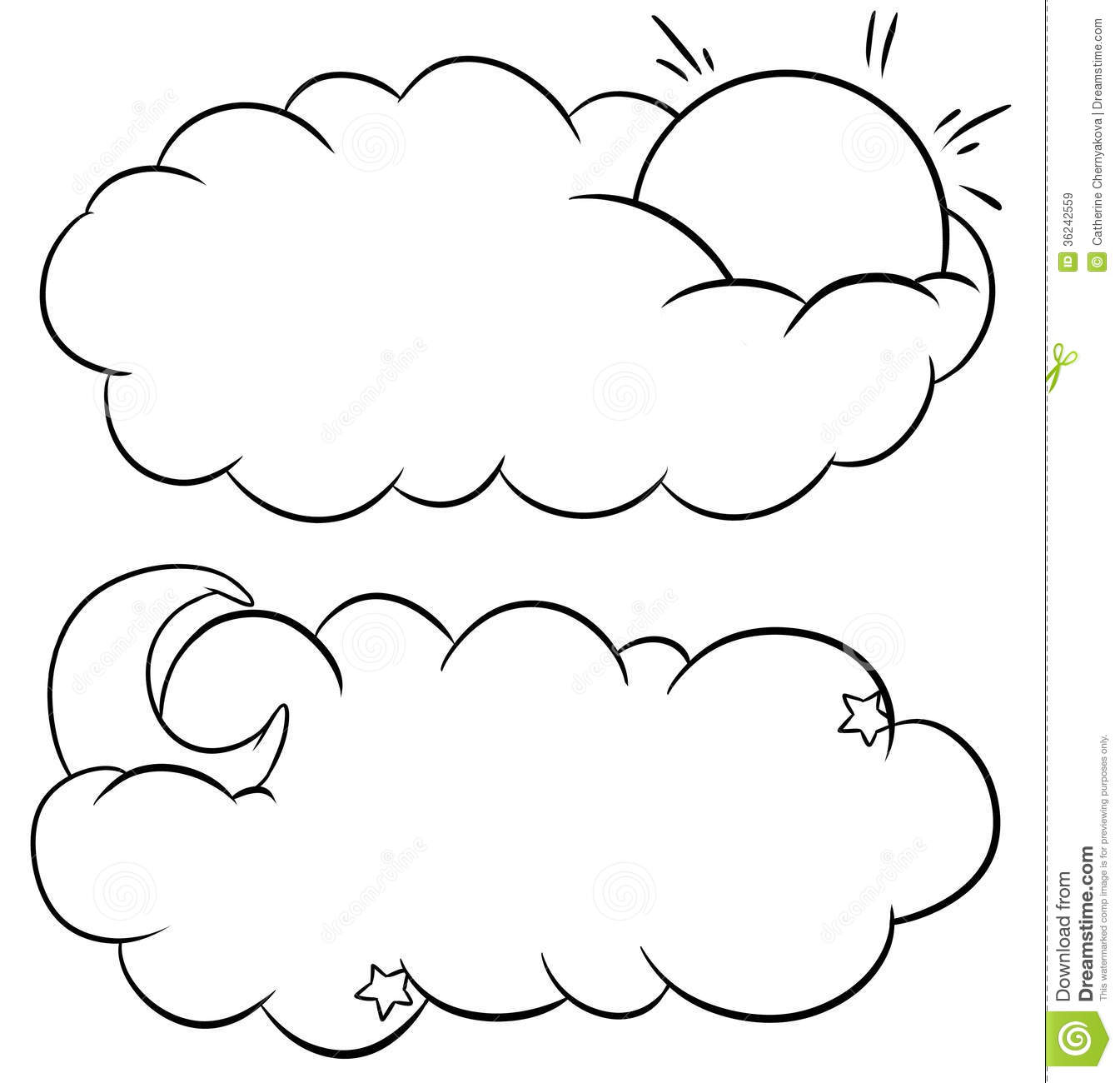 Cloud and sun and moon stock illustration image of moon for Coloring pages clouds