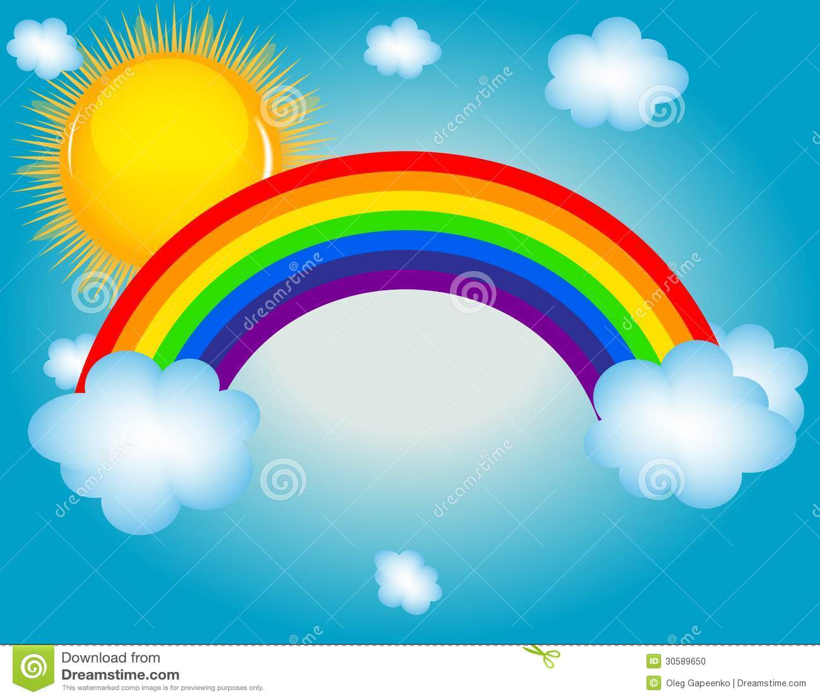 Rainbow Stickers For Walls Cloud Sun Rainbow Vector Illustration Background Stock