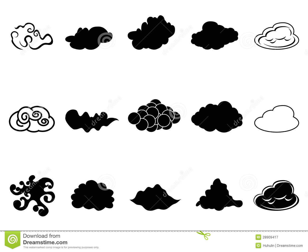 Cloud Symbol Icons Set Stock Vector Illustration Of Fluffy 28909417