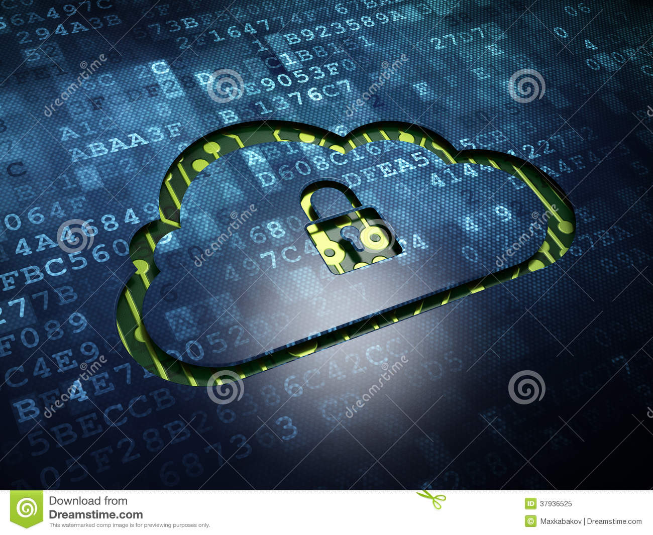 Cloud technology concept: Cloud With Padlock on