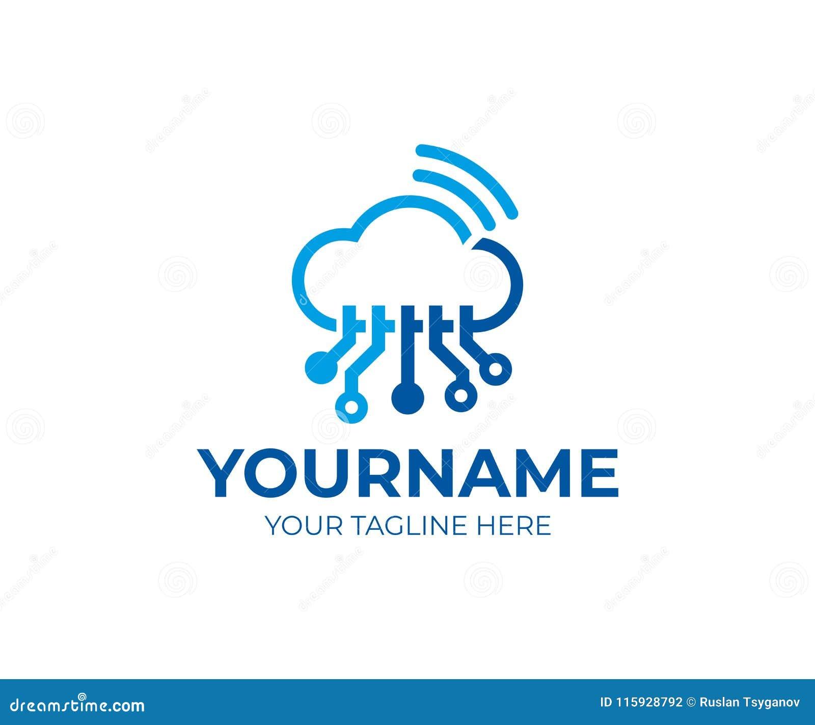cloud technology tech and wi fi logo template cloud circuits