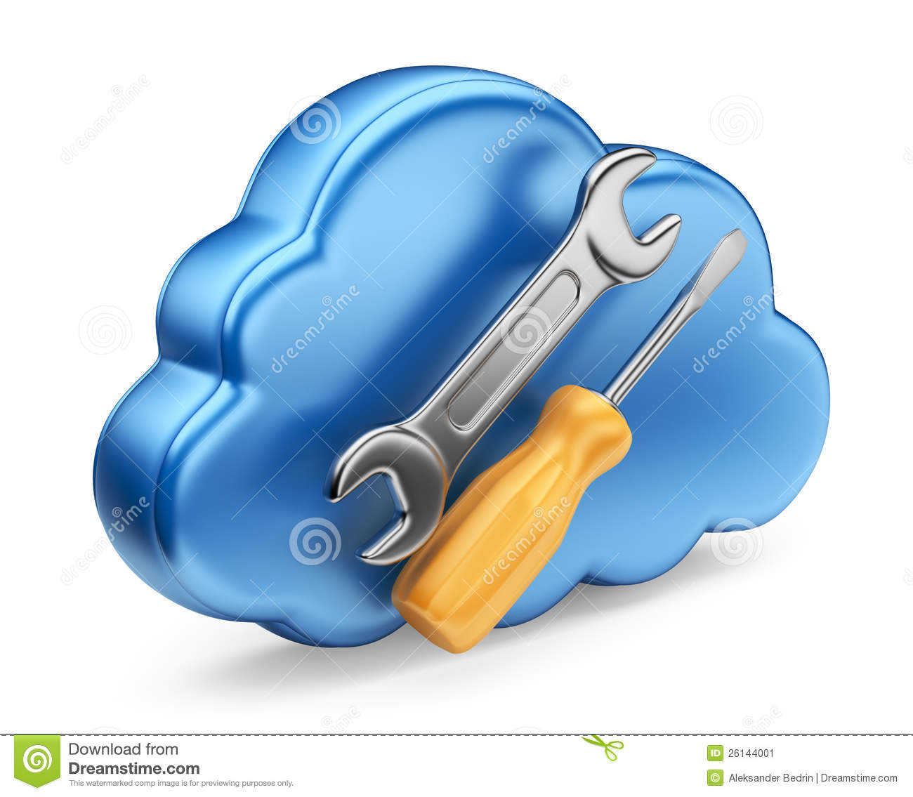 Cloud With Tools 3d Icon Isolated Stock Image Image