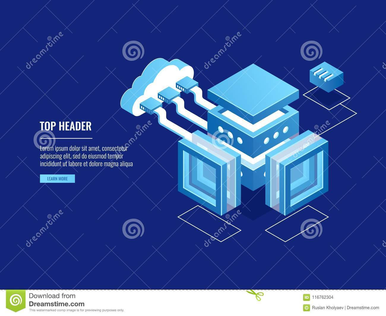 Cloud warehouse, data copy storage, server room, connection with cloud, data center database icon
