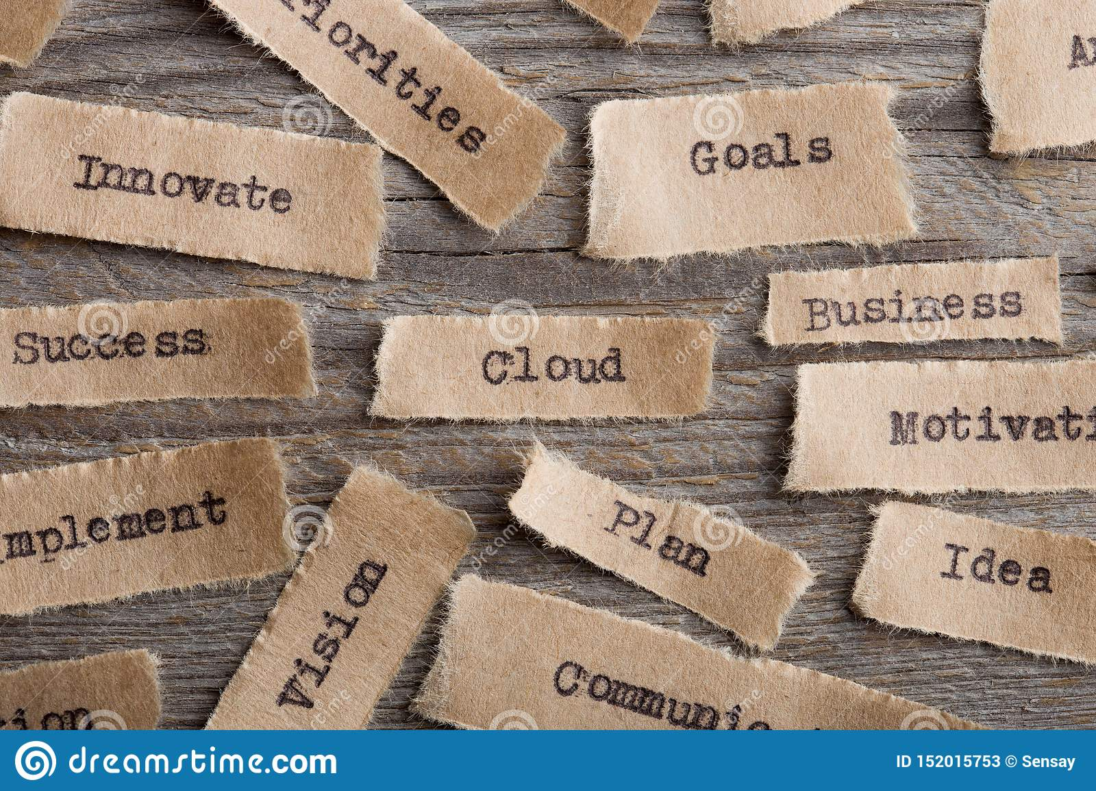 Cloud word on a piece of paper close up, business modern technology concept