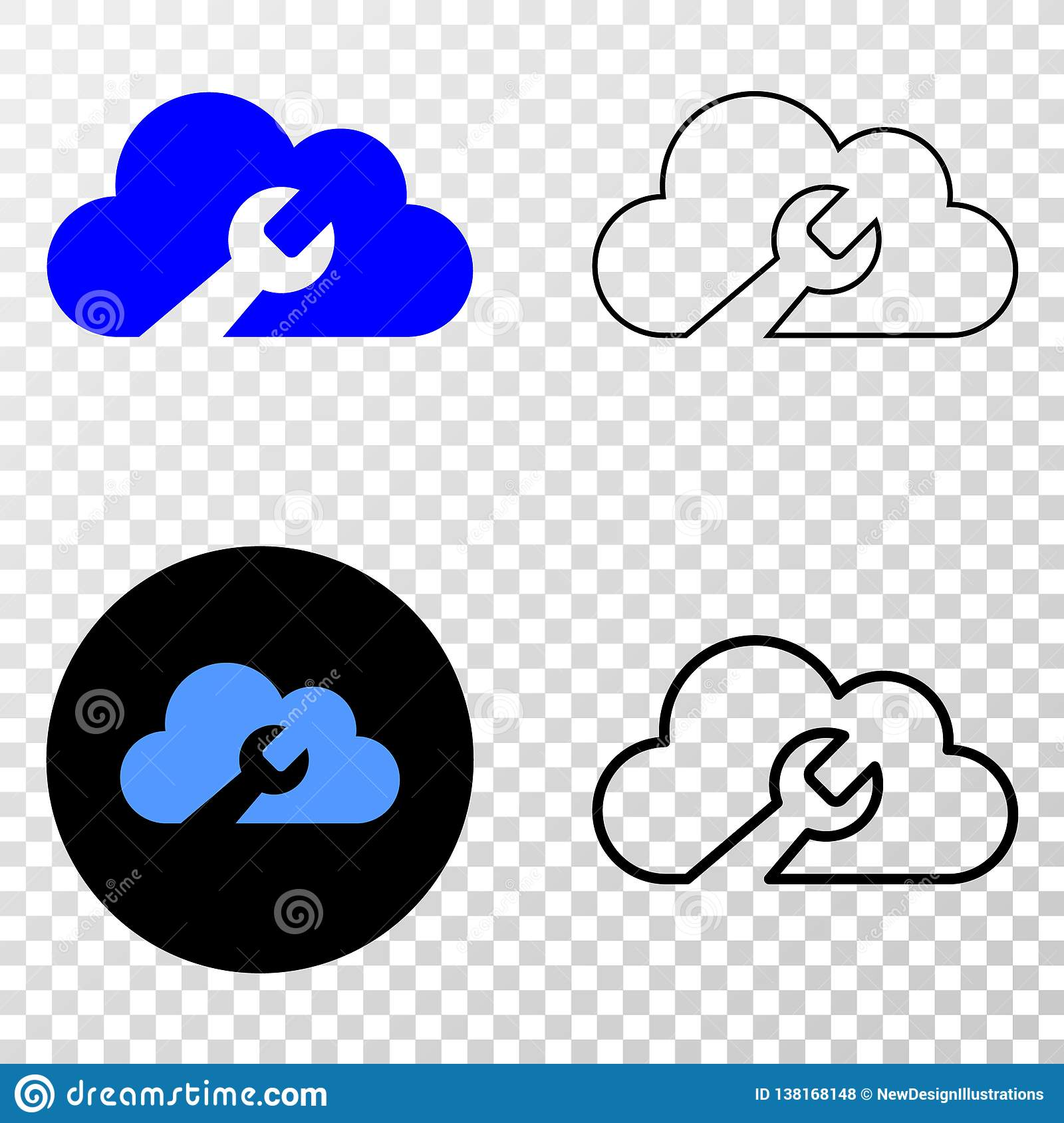 Cloud Wrench Vector EPS Icon with Contour Version