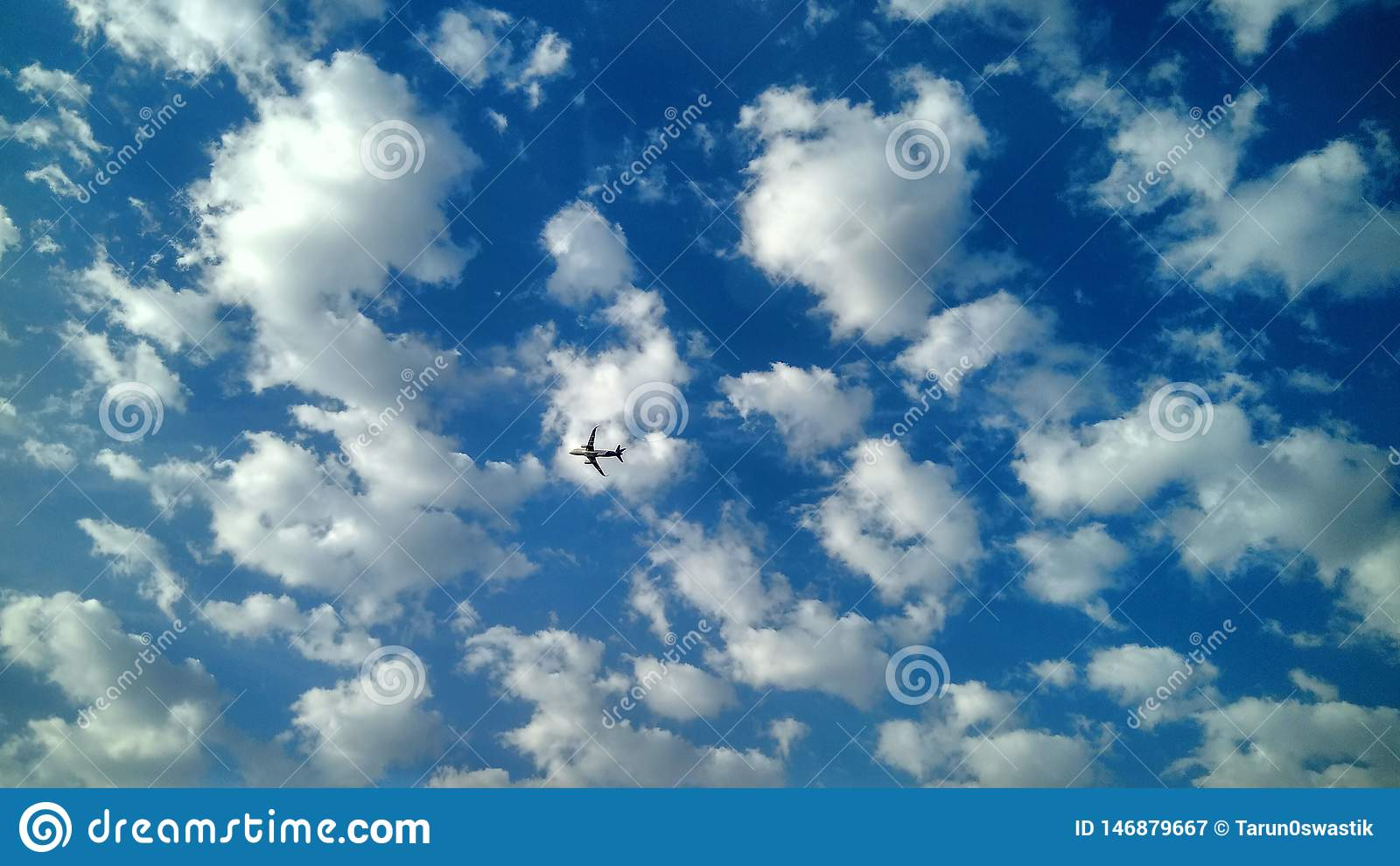 Clouds with Aeroplane beautifull sky view