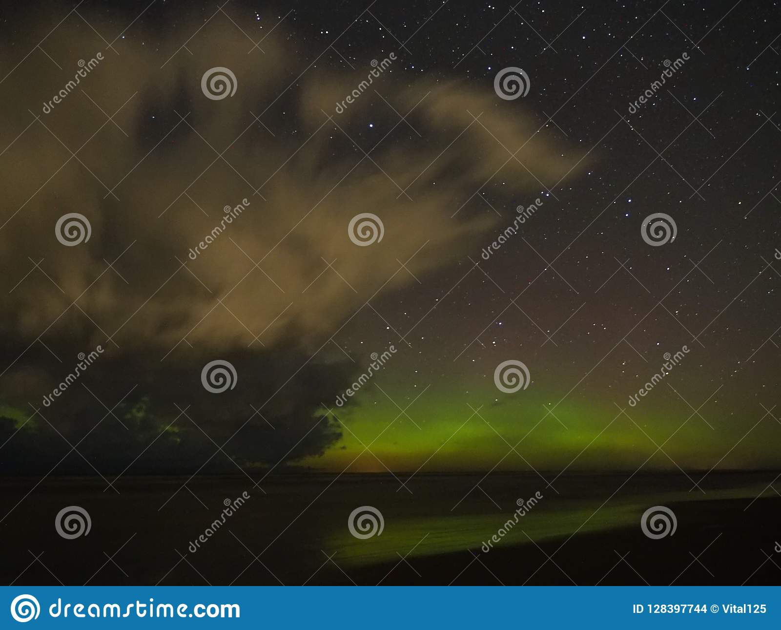 Clouds aurora polar lights big dipper constellation stars