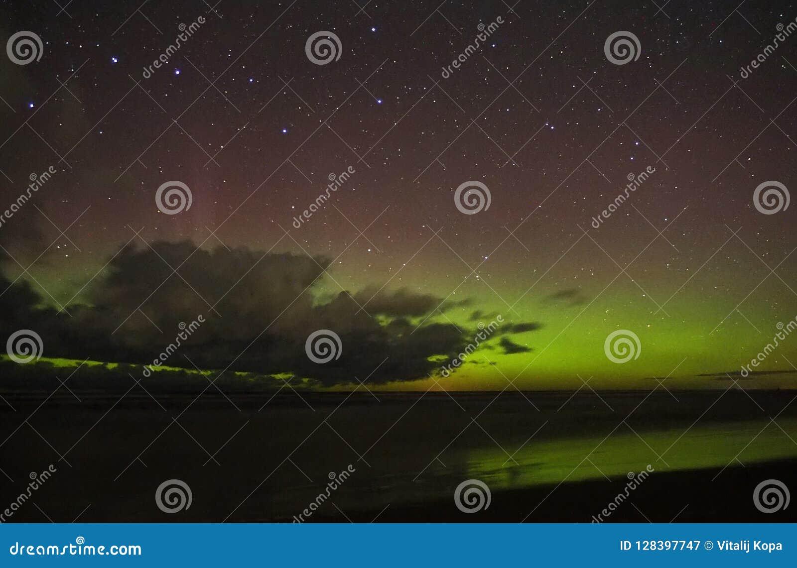 Clouds aurora polar lights big dipper constellation stars