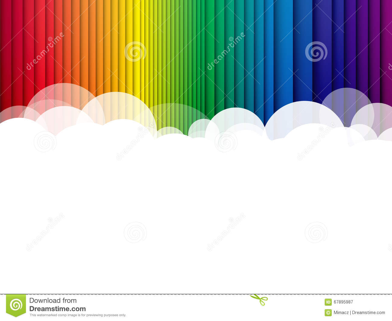Clouds background rainbow stripes