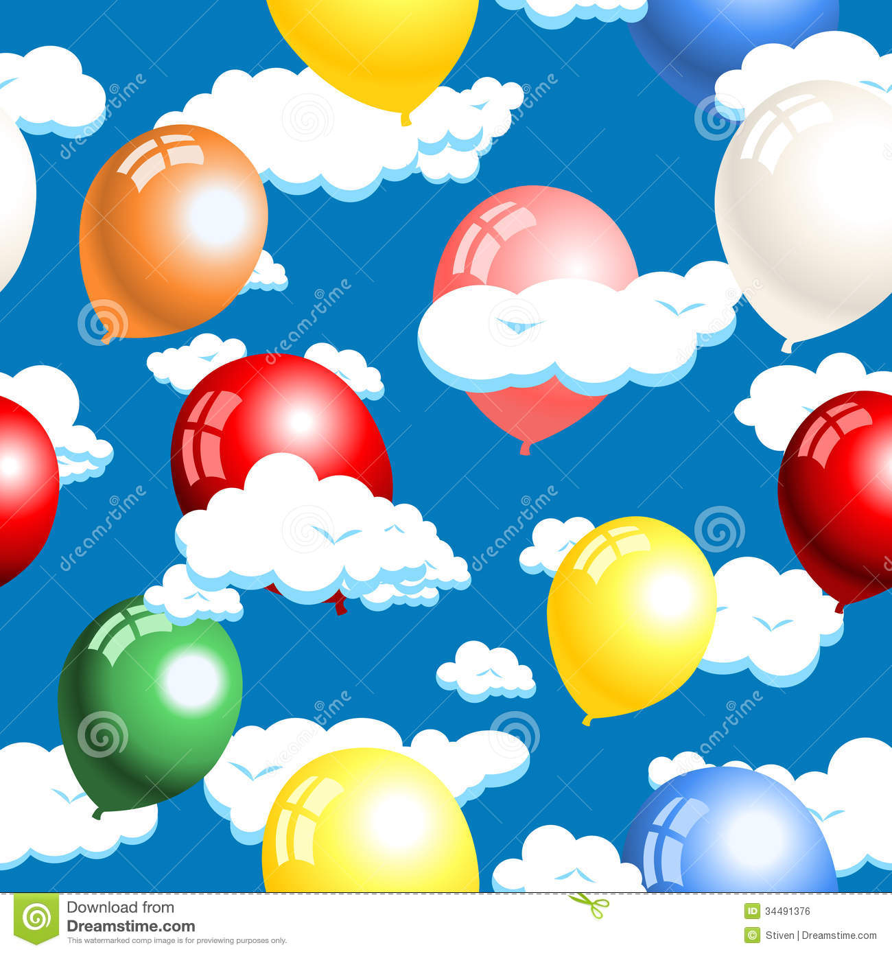 Clouds and balloons seamless royalty free stock image for Silver cloud balloons