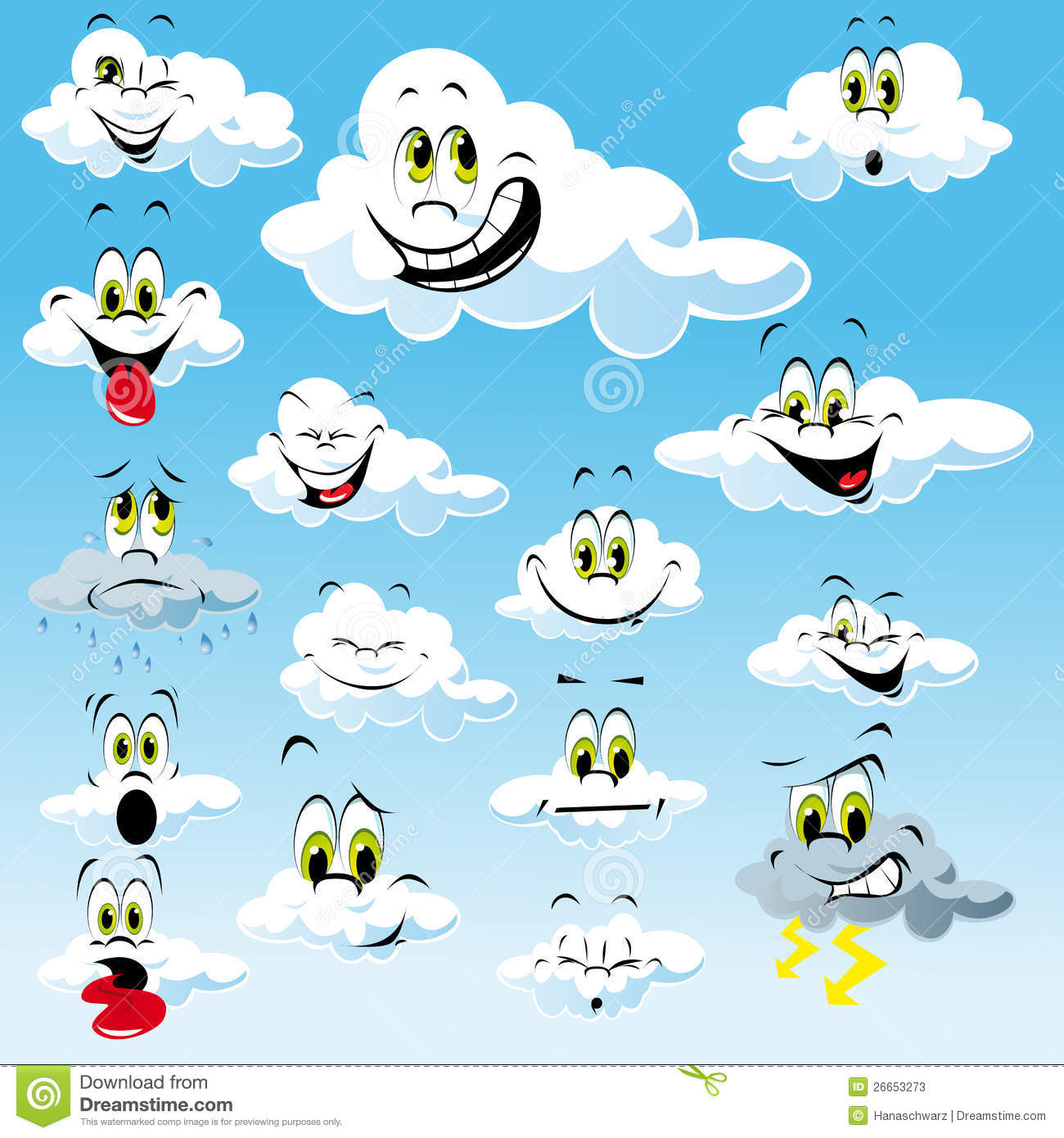 Collection of clouds with cartoon faces with many different