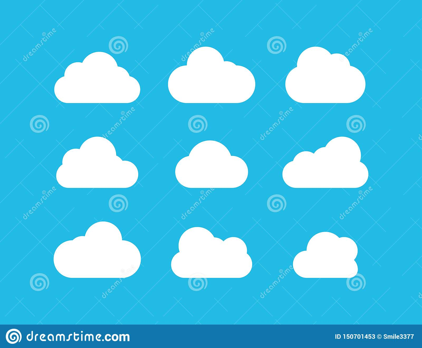 Clouds collection. White Clouds vector icons on blue background. White Cloud in flat design