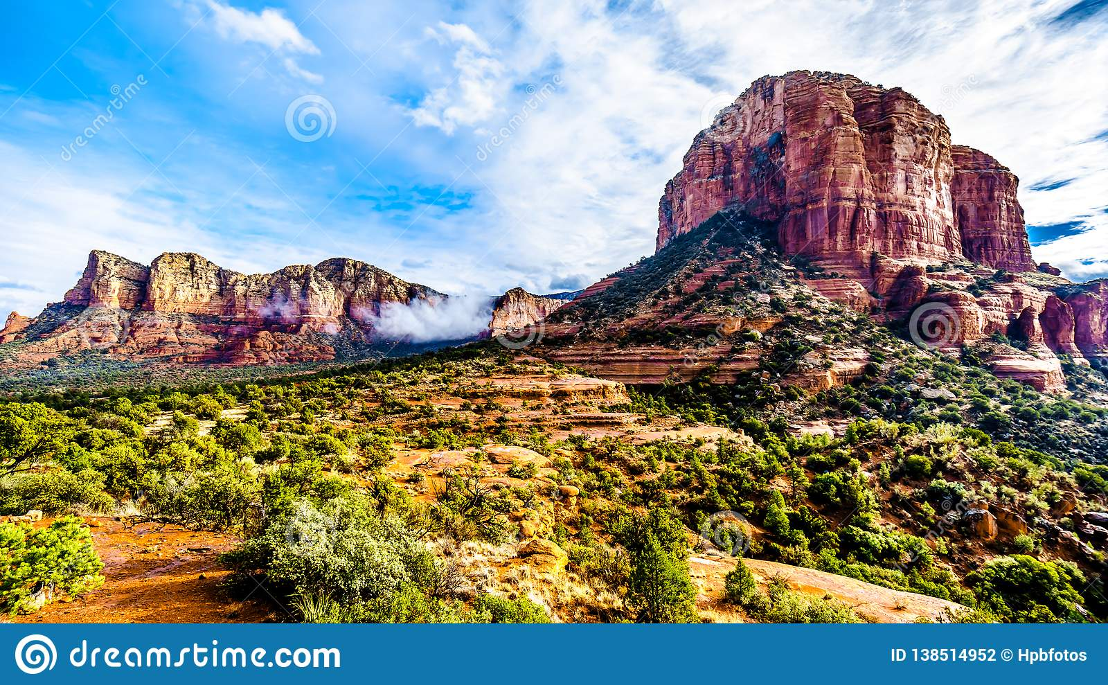 Clouds hanging around Lee Mountain and Courthouse Butte between the Village of Oak Creek and Sedona in northern Arizona